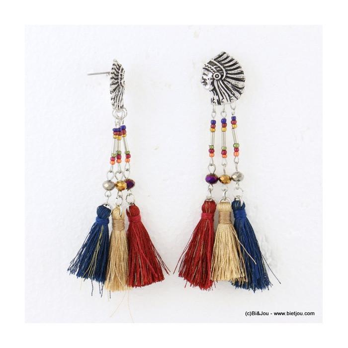 boucles d'oreilles tête indien pompon tassel 0316631