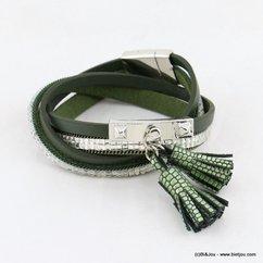 bracelet multi-tours simili-cuir aimanté pompon tassel 0216554