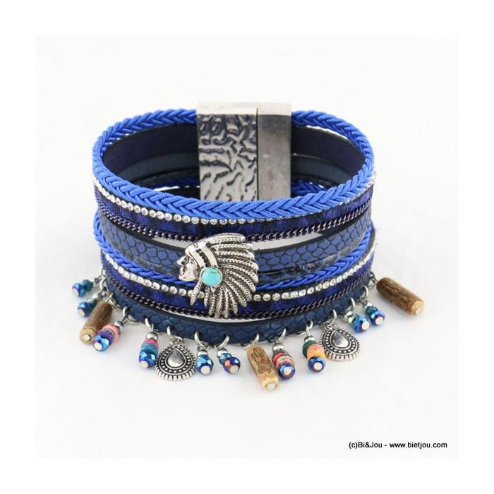 bracelet tête indien manchette aimanté simili-cuir 0216525
