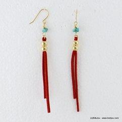 boucles d'oreilles pendante deux lanières suédine turquoise fermoir crochet 0317061