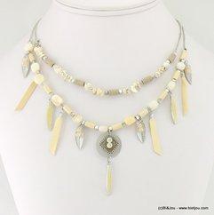 collier deux rangs éclats de pierre frange plume 0117038 naturel/beige