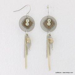 boucles d'oreilles pendante filigrane chaînes fines plume fermoir crochet 0317004 naturel/beige