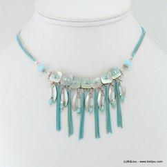 collier carrés de nacre plumes métalliques chaînes fines 0117039 bleu