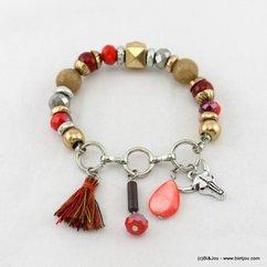 bracelet élastique tête taureau pompon tassel 0217075 noir
