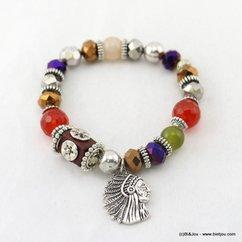 bracelet élastique tête indien 0217076 noir