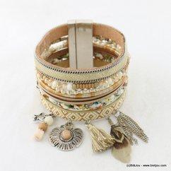 bracelet manchette simili-cuir aimanté oiseau plume étoile pompon tassel chaînes fines 0217010 rose