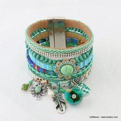 bracelet manchette simili-cuir aimanté pompon rond fleur plume métallique 0217013 gris clair