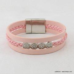 bracelet simili-cuir aimanté strassé 0217015 rouge