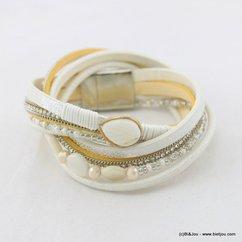 bracelet multi-tours simili-cuir aimanté feuille 0217025 noir