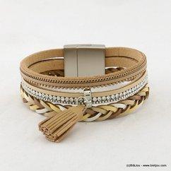 bracelet manchette aimanté pompon tassel simili-cuir tressé 0217078 naturel/beige