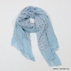 foulard petites fleurs 0717003 bleu