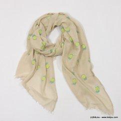 foulard motif imprimé ananas 0717010 naturel/beige