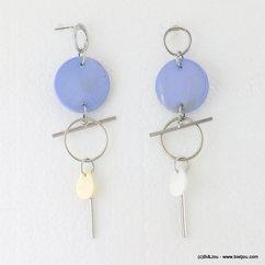 boucles d'oreilles pendante tige métallique pièces coquillage fermoir clou 0317003 bleu