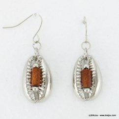 boucles d'oreilles pendante coquillage métallique fermoir crochet 0317086 marron