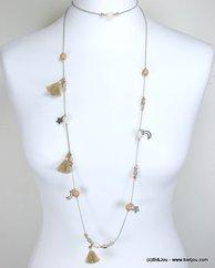 sautoir à enrouler charms tassel tissu étoile croissant de lune 0117081 naturel/beige