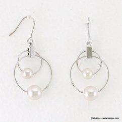 boucles d'oreilles pendante anneaux métalliques  billes imitation perle fermoir crochet 0317113 argenté