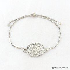 bracelet réglable fermoir coulissant rosace ovale strassée filigrane 0217108 argenté