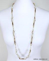 sautoir ethnique perles de verre 0117165 naturel/beige