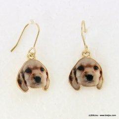 boucles d'oreille chien vintage pendante fermoir crochet 0317096 naturel/beige