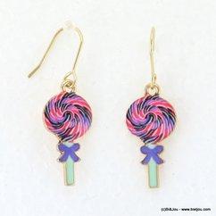 boucles d'oreille sucette vintage pendante fermoir crochet 0317098 violet