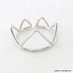 bague minimaliste triangles réglable ouverte 0417009 argenté