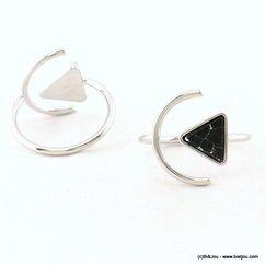 bague minimaliste triangle pierre marbré géométrique réglable ouverte 0417014 noir