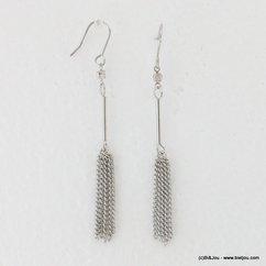 boucles d'oreilles pendante tige tassel chaînes fines métalliques 0317109 argenté