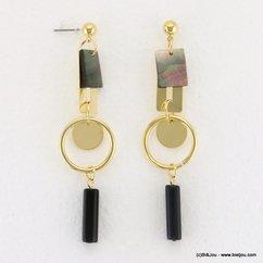boucles d'oreilles géométrique tige anneau métallique coquillage fermoir clou 0317120 doré