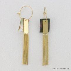 boucles d'oreilles créole multi-chaînes métalliques 0317123 doré