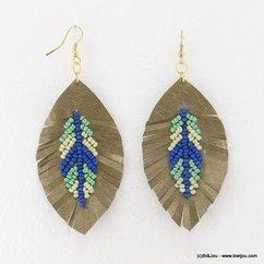boucles d'oreilles pendante plume tissu fermoir crochet 0317093 bleu