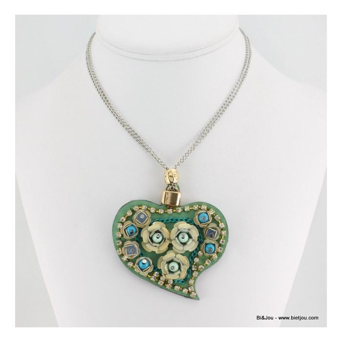 Sautoir coeur cuir synthétique perles de rocaille roses en métal