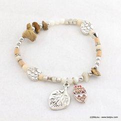 bracelet élastique bouton nacre peinte feuille métallique 0217035 naturel/beige