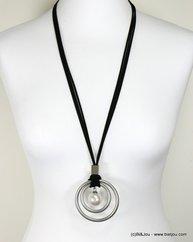 sautoir deux anneaux métalliques bille imitation perle cordons faux-daim 0117135 argenté