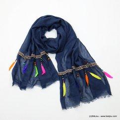foulard Plumes Véritables 0717021 bleu foncé