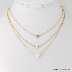 collier 3-rangs chaînes à billes pendentif cube 0117233 bleu turquoise