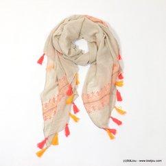 foulard brodé pompons tassel tissu 0717023 naturel/beige