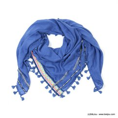 foulard pompons tassel tissu 0717024 bleu foncé