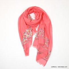 foulard floral petites fleurs brodées 0717025