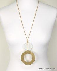 sautoir cordon deux anneaux métalliques 0117242 doré