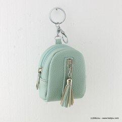 porte-clés porte-monnaie sac à dos pompon simili-cuir 0817015 vert