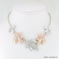 collier de petites feuilles métalliques bicolores rose doré-argenté 0117257