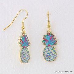 boucles d'oreilles vintage Ananas fermoir crochet 0317142 bleu