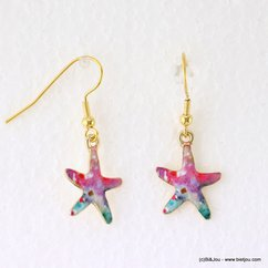 boucles d'oreilles vintage Etoile de Mer fermoir crochet 0317145 bleu