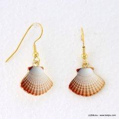 boucles d'oreilles vintage Coquille Saint Jacques fermoir crochet 0317146 naturel/beige