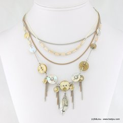collier multi-rangs plume métallique tassel fines chaînes 0117259 naturel/beige