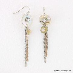 boucles d'oreilles pièce de nacre tassel fines chaînes fermoir crochet 0317133 naturel/beige