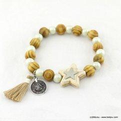 bracelet élastique étoile pompon tassel tissu sequin 0217161 naturel/beige