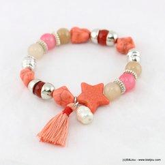 bracelet élastique étoile pompon tassel tissu perle eau douce 0217163 vert