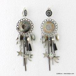 boucles d'oreilles pièce nacre feuille étoile libellule métallique fermoir clip 0317150 noir