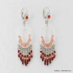 boucles d'oreilles Néo Antique pendante anneau nacre motif fleur fermoir dormeuse 0317149 rouge bordeaux